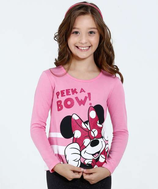 Image_Blusa Infantil Manga Longa Estampa Minnie Disney