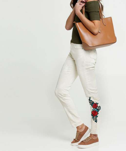 Image_Calça Skinny Feminina Bordado Flores Uber Jeans