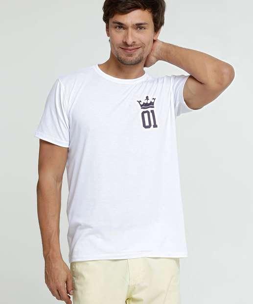 Image_Camiseta Masculina Estampa Coroa Manga Curta