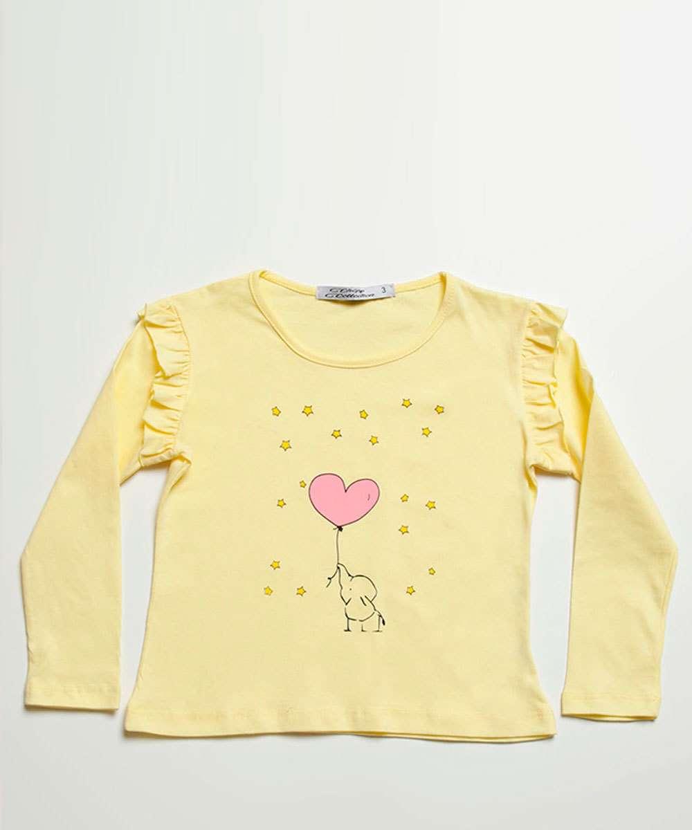 Blusa Infantil Estampa Elefante Manga Longa