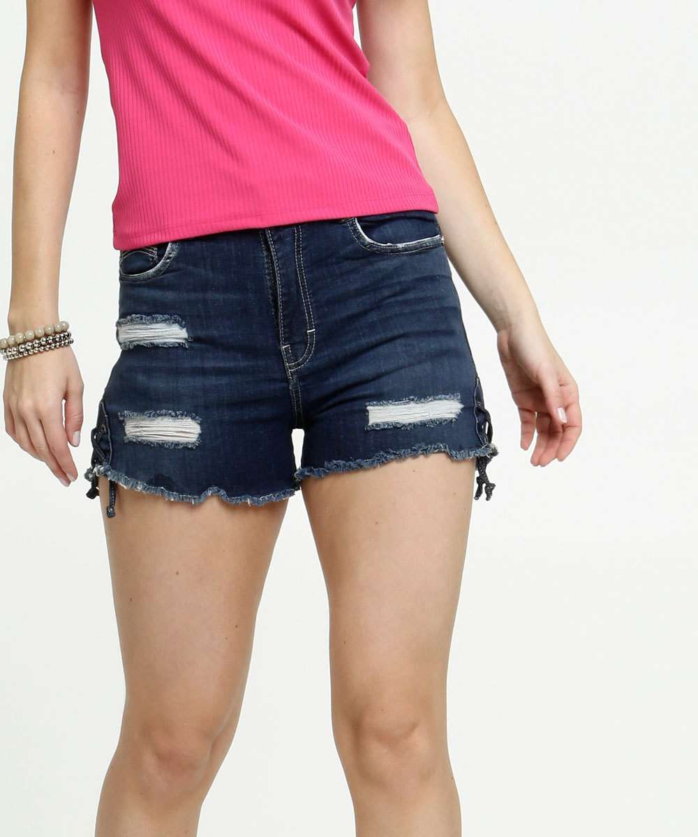 Short Feminino Destroyed Barra Desfiada Zune Jeans