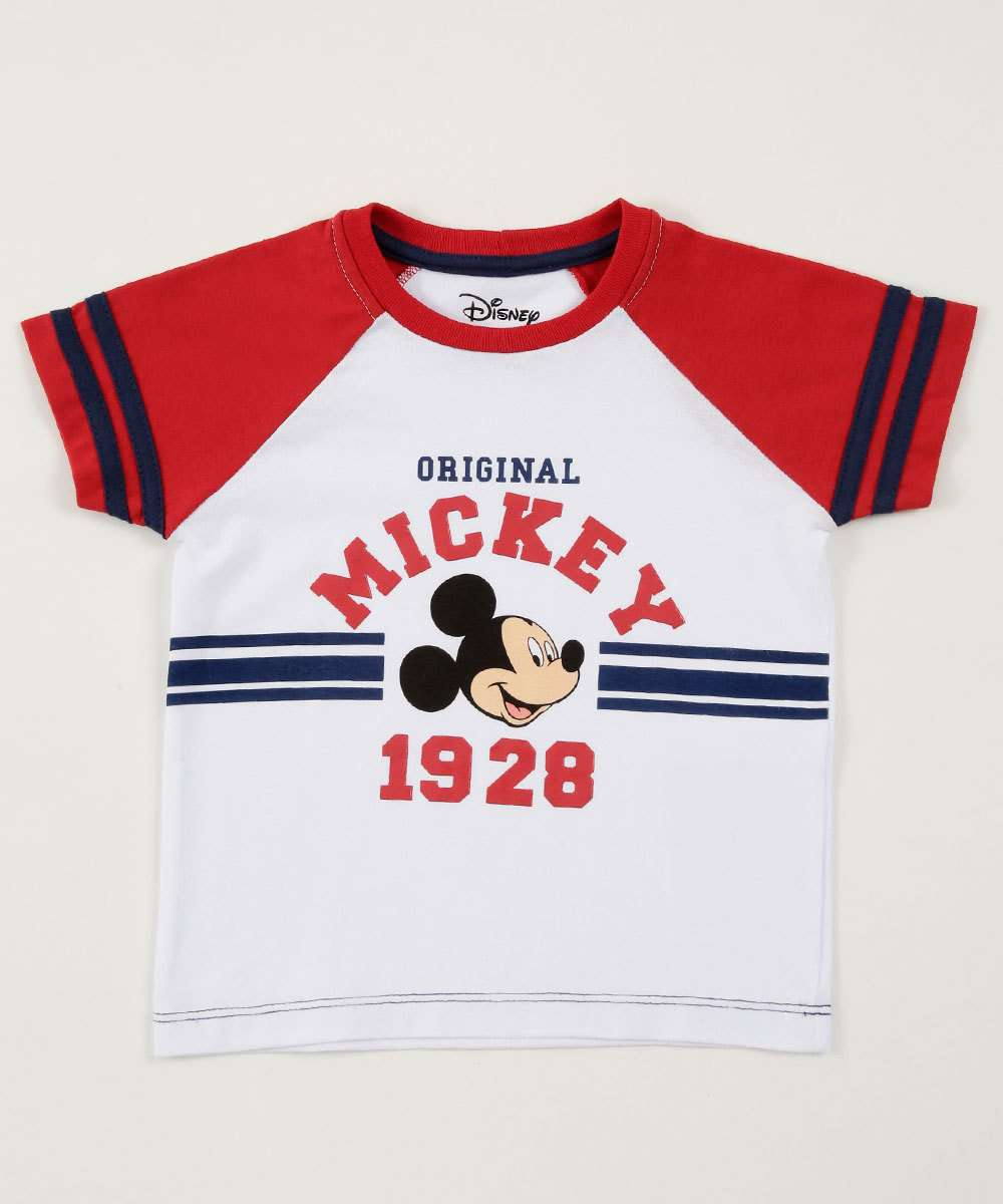 Camiseta Infantil Estampa Mickey Manga Curta Disney