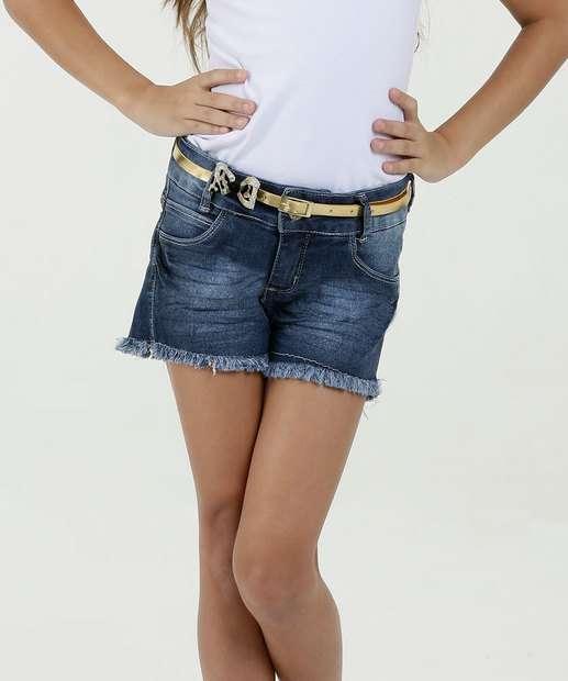 Image_Short Infantil Jeans Stretch Cinto Barra Desfiada