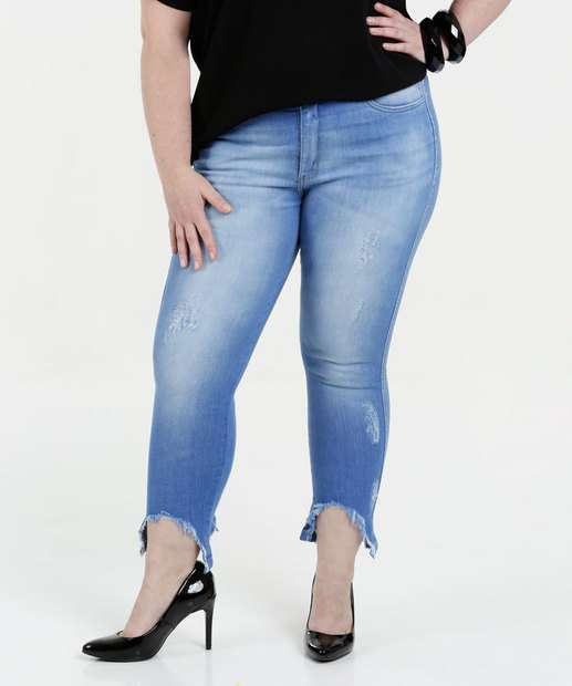 Image_Calça Feminina Jeans Puídos Capri Plus Size Razon