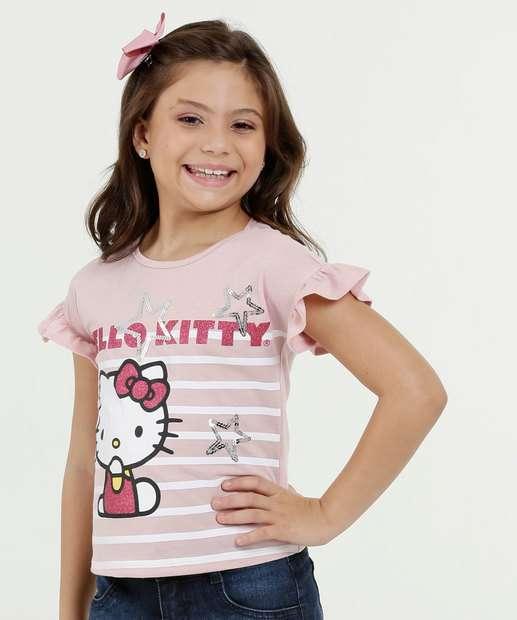 Image_Blusa Infantil Estampa Hello Kitty Paetês Manga Curta Sanrio