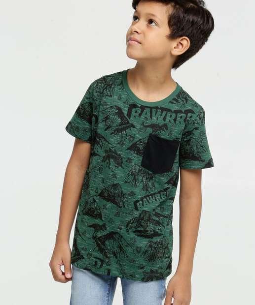 Image_Camiseta Infantil Flamê Estampa Dinossauro Manga Curta MR