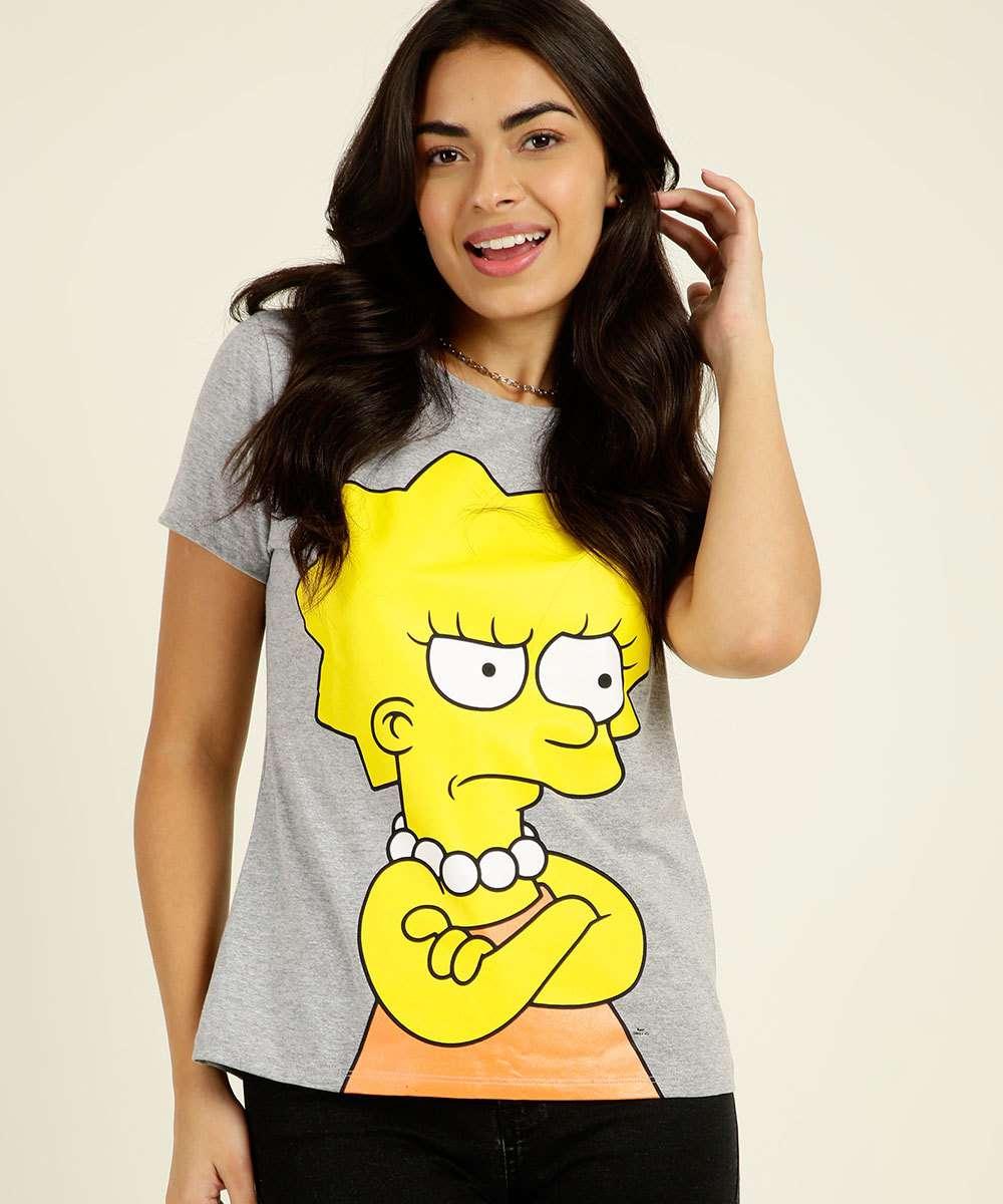 Blusa Feminina Estampa Frontal Manga Curta Simpsons