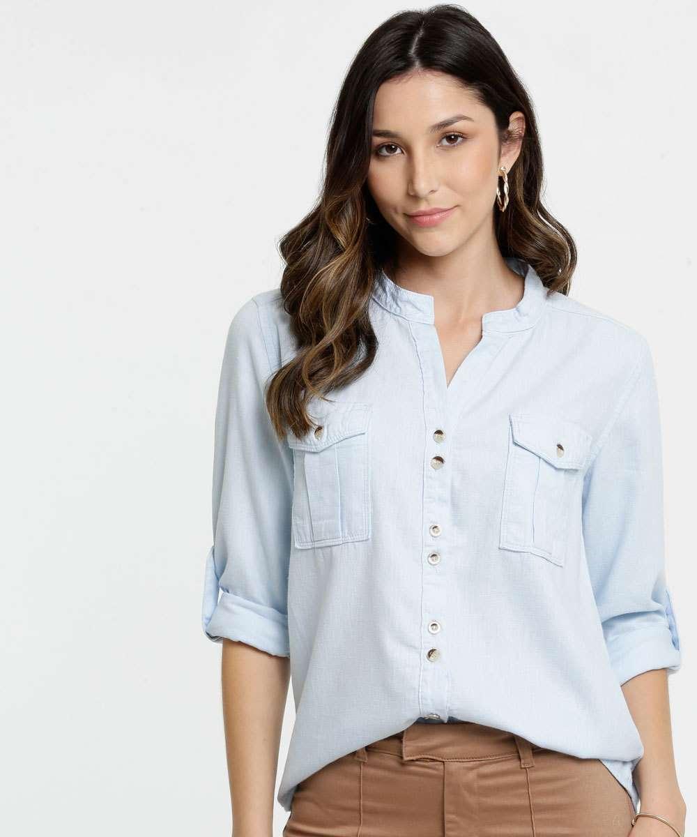 Camisa Feminina Jeans Gola Padre Manga Longa Marisa
