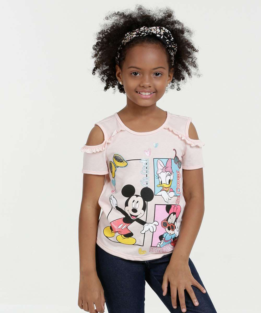 Blusa Infantil Open Shoulder Estampa Mickey Manga Curta Disney