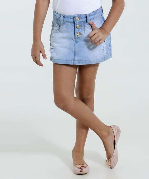 Image_Short Saia Infantil Jeans Puídos Marisa