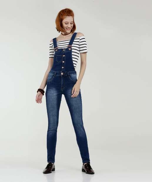 9958adb01 Macacão Feminino Jeans Botões Biotipo