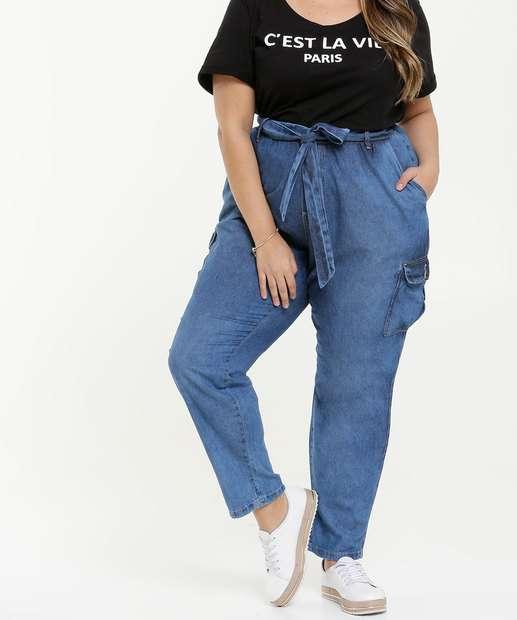 Image_Calça Feminina Jeans Clochard Bolsos Plus Size