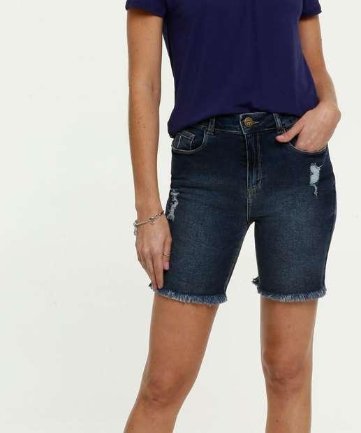 Image_Bermuda Feminina Jeans Puídos Barra Desfiada Marisa