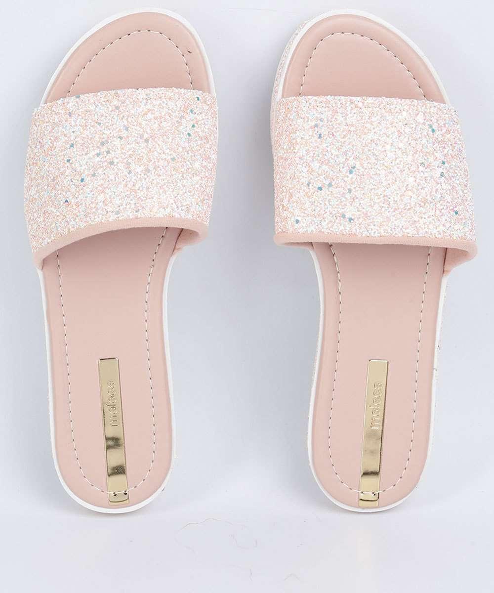 ad761fc474 Chinelo Feminino Slide Glitter Tratorada Moleca