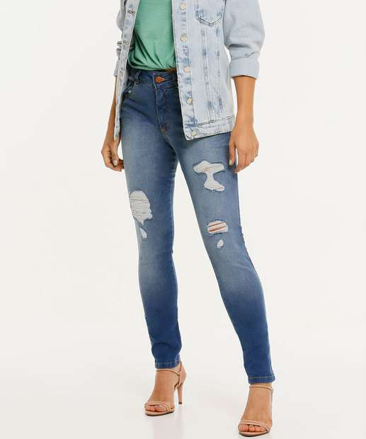 Image_Calça Jeans Skinny Feminina Destroyed Biotipo