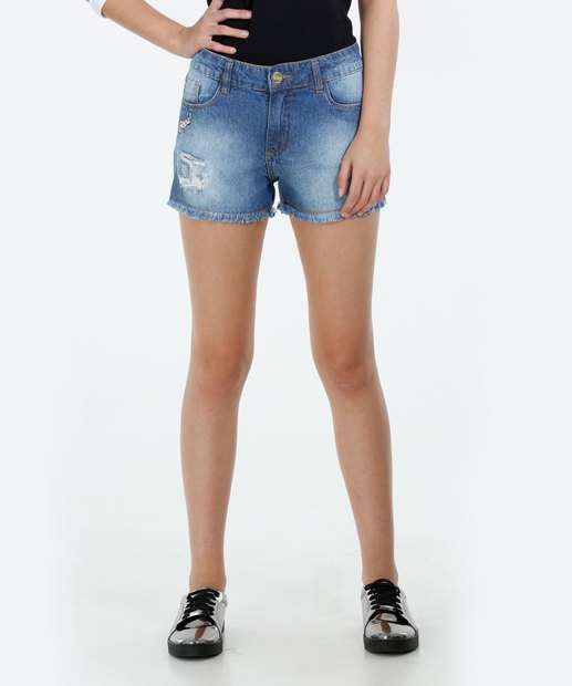 Image_Short Juvenil Jeans Patches Destroyeds Marisa