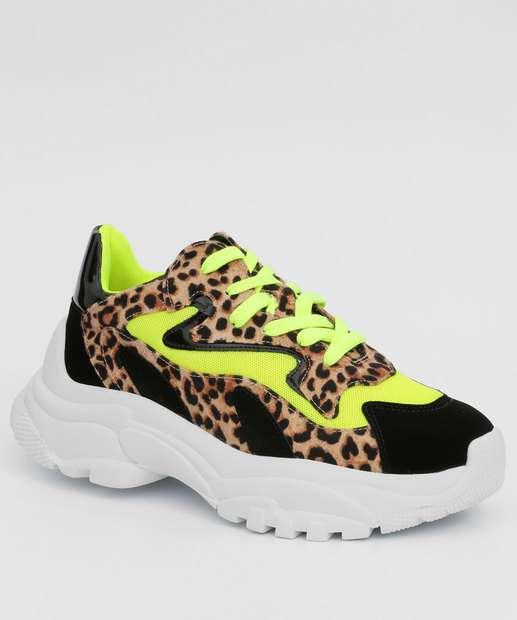 Image_Tênis Feminino Chunky Sneaker Neon Animal Print Zatz