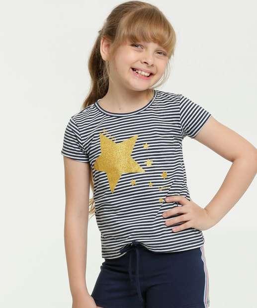 Image_Blusa Infantil Listrada Estampa Estrela Marisa