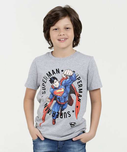 Image_Camiseta Infantil Super Homem Curta Liga da Justiça