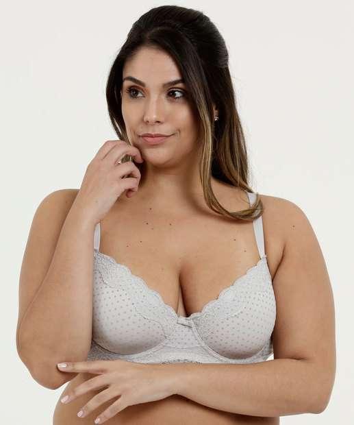 25131c195 Sutiã Feminino Com Base Flocado Renda Plus Size Marisa
