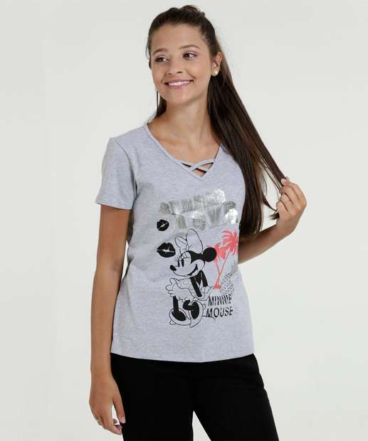 Image_Blusa Juvenil Metalizada Estampa Minnie Disney