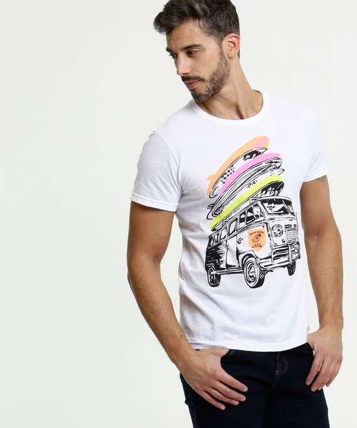 Image_Camiseta Masculina Estampa Frontal Neon Manga Curta
