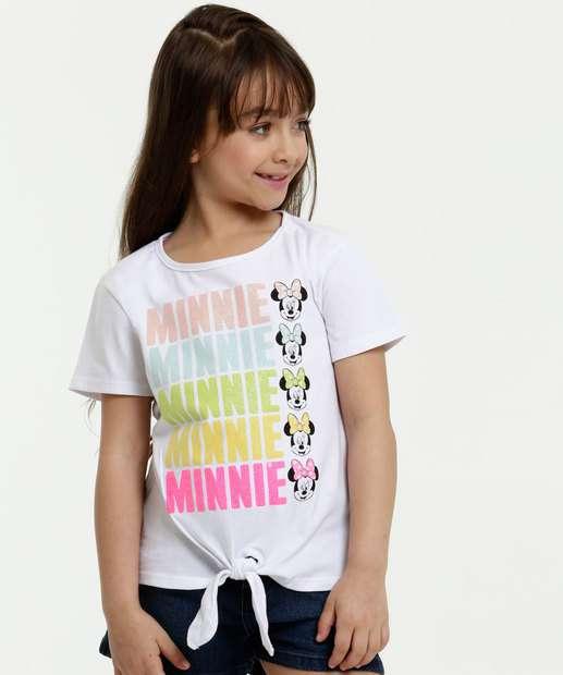 Image_Blusa Infantil Minnie Glitter Amarração Manga Curta Disney