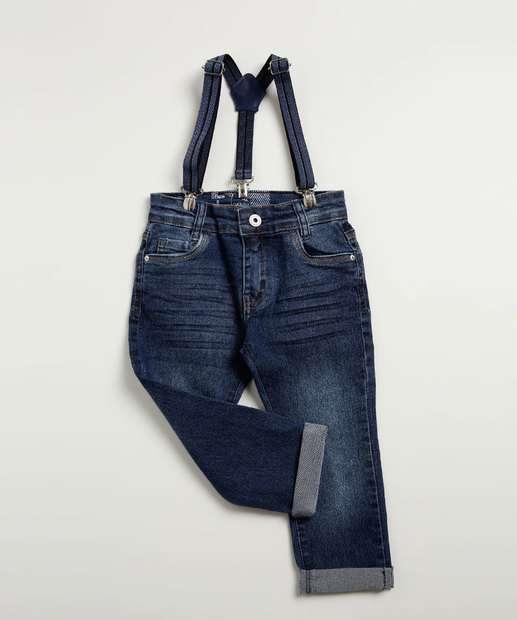 Image_Calça Infantil Jeans Suspensório Akiyoshi Denim