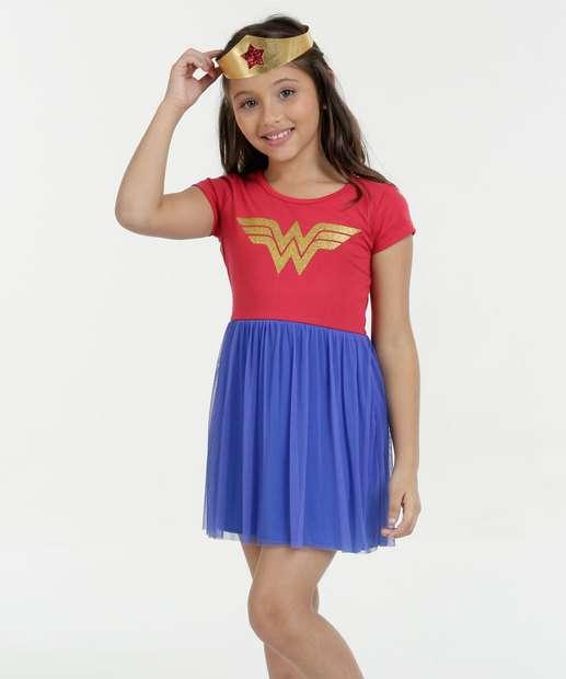 Image_Camisola Infantil Mulher Maravilha Manga Curta Liga da Justiça