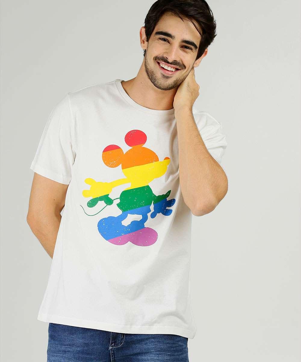 Camiseta Masculina Estampa Mickey Manga Curta Disney