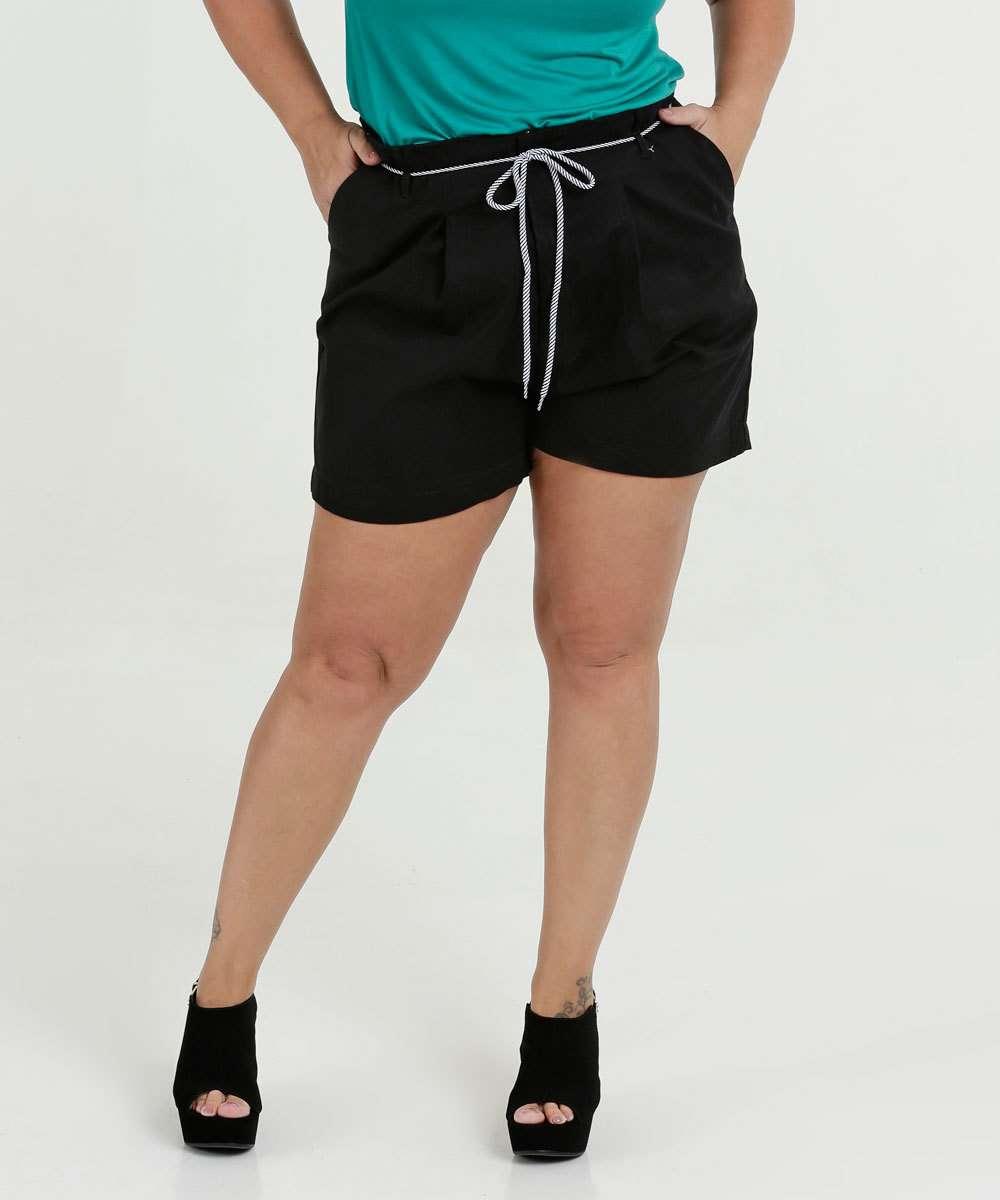 Bermuda Feminina Sarja Cinto Plus Size Razon