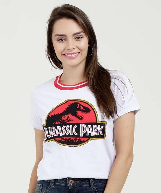Image_Blusa Feminina Estampa Jurassic Park Manga Curta Universal