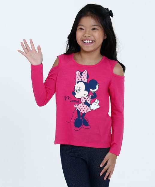 Image_Blusa Infantil Open Shoulder Minnie Manga Longa Disney