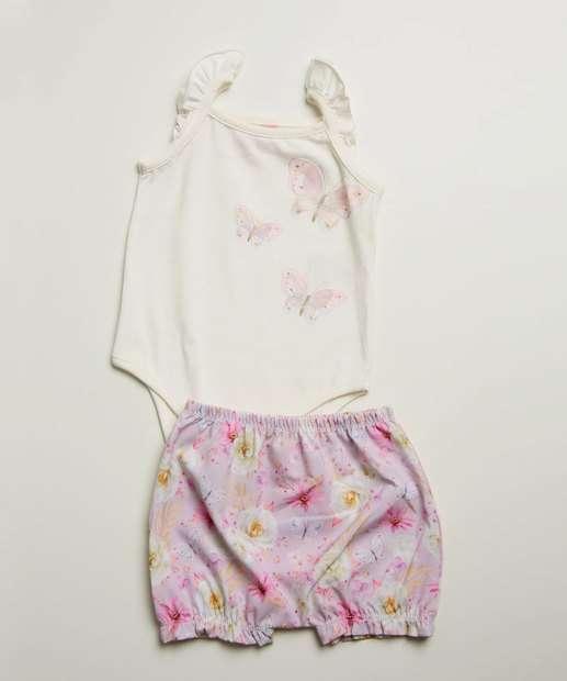 Image_Conjunto Infantil Bebê Sem Manga Floral Tam 0 a 10 Meses