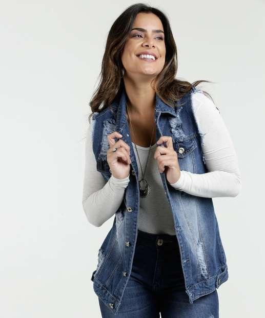 Image_Colete Feminino Jeans Destroyed Razon