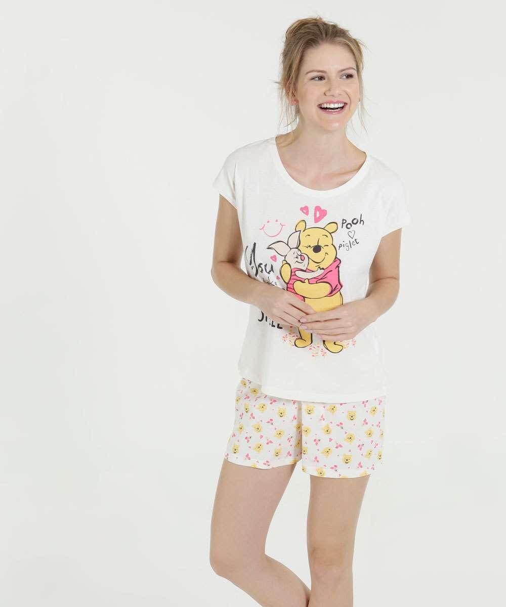 e4f1b2ca8 Pijama Feminino Short Doll Ursinho Pooh Disney