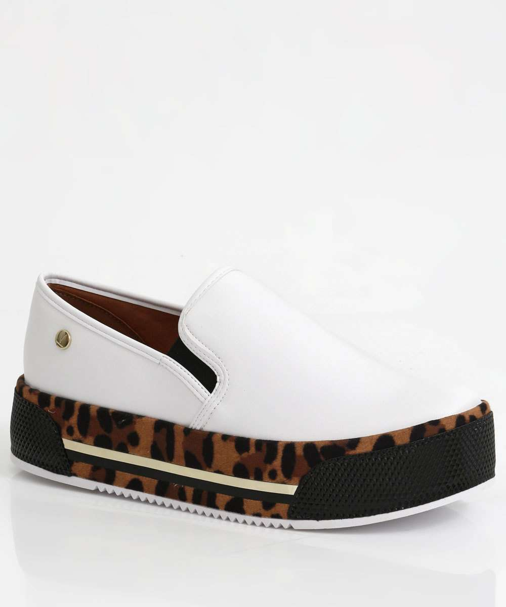 Tênis Feminino Slip On Animal Print Flatform Vizzano