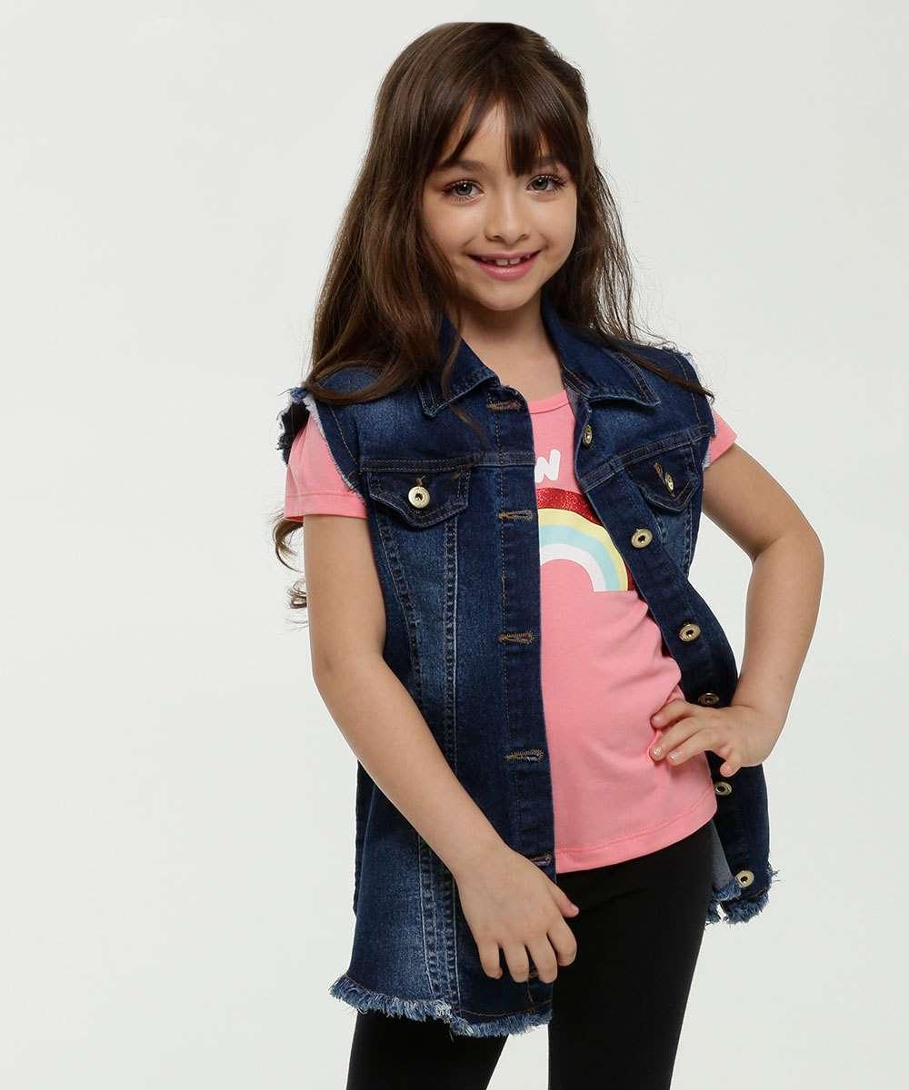 Colete Infantil Jeans Barra Desfiada