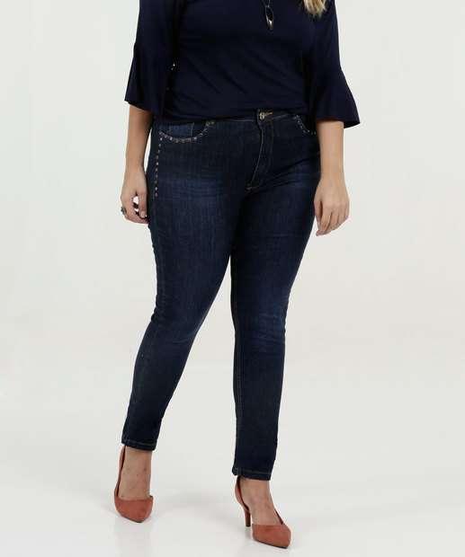 Image_Calça Feminina Jeans Skinny Pedraria Plus Size Razon