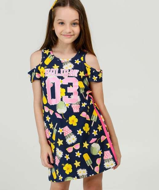 Image_Vestido Infantil Open Shoulder Estampado Tam 4 a 10