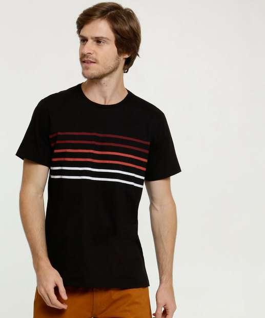 Image_Camiseta Masculina Estampa Frontal Listras Manga Curta