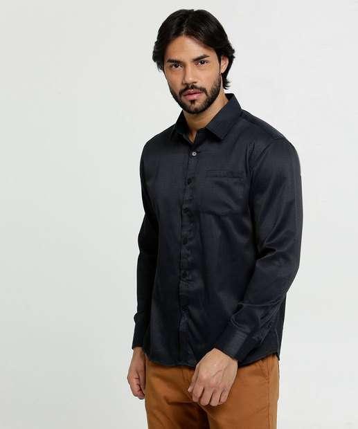 Image_Camisa Masculina Textura Manga Longa