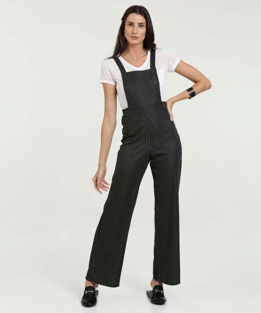 30488b347 Jardineira Feminina Listrada Pantalona Marisa