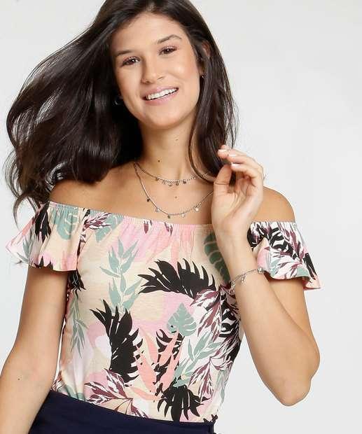 Image_Body Feminino Ombro a Ombro Estampa Tropical