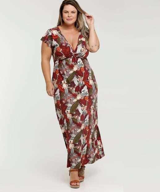 Image_Vestido Feminino Longo Estampa Folhas Plus Size Marisa