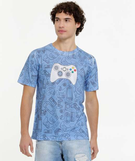 Image_Camiseta Masculina Estampa Games Manga Curta