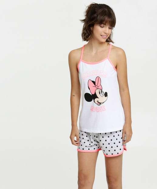 Image_Pijama Feminino Estampa Minnie Neon Alças Finas Disney