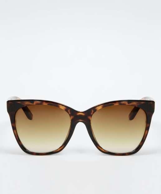 d69b09ce4534e Óculos de Sol Feminino Estampa Animal Print Quadrado Marisa