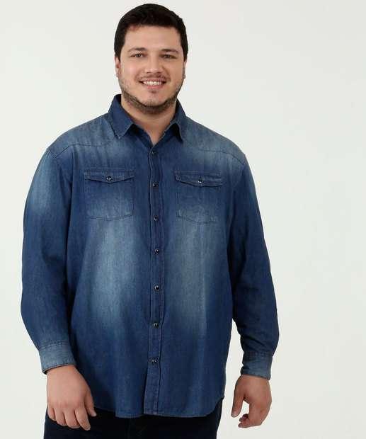 Image_Camisa Masculina Jeans Manga Longa Plus Size