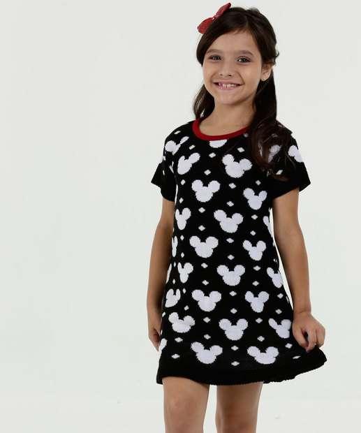 Image_Vestido Infantil Tricô Mickey Manga Curta Disney